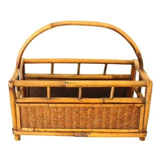 Vintage Boho Wicker Bamboo Basket With Handle Storage Caddy, Magazine Rack For Sale