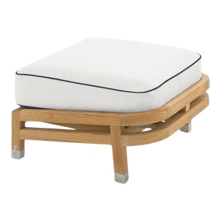 Linley Footrest in Nice White with Sundeck Blue Welt For Sale