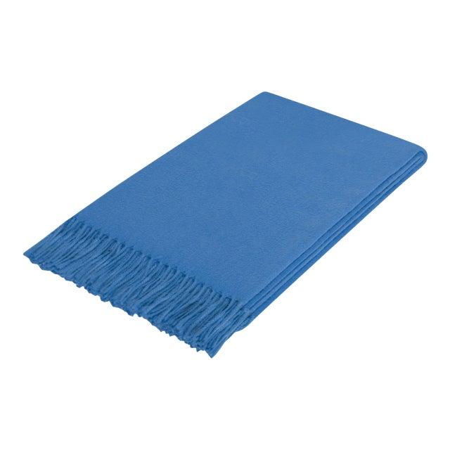 Curated Kravet Lusuosso Cashmere Throw - Cobalt For Sale