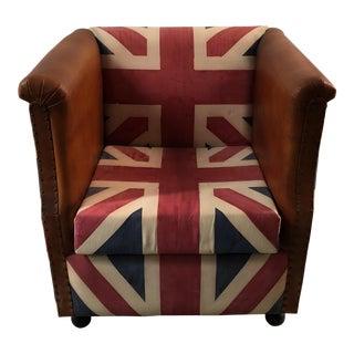 Vintage Union Jack Flag Leather Tub Chair
