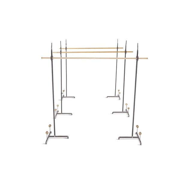 2010s Hollywood Regency Bespoke Clothing Rack in Wrought Iron and Brass For Sale - Image 5 of 10