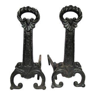 Antique Scrolled Iron Andirons - Set of 2 For Sale