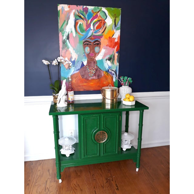 Hollywood Regency Lacquered Green Faux Bamboo Bar Cart For Sale - Image 6 of 13