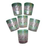 Image of Mid 19th Century Cut Crystal Julep or Bar Glasses With Mint Leaf Motif Set of Six - Set of 6 For Sale
