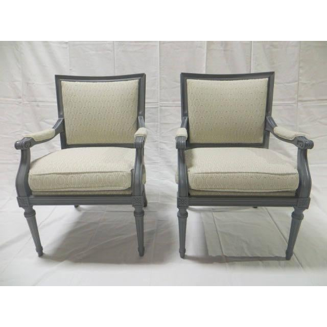 Ca. 1900s French Directoire Pair of Side Chairs. Lacquered in Gray Finish Re-Upholstered in Loomed Patterned Modern Fabric...