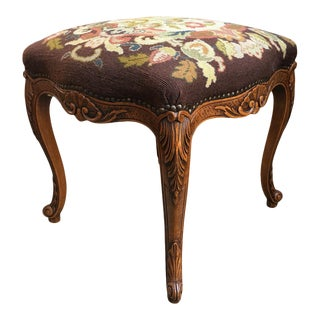 Antique French Carved Oak Louis XV Stool Bench Tapestry Serpentine Tall Cabriole For Sale