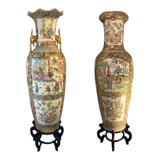 Monumental Oriental Vases On Teak Stands - a Pair