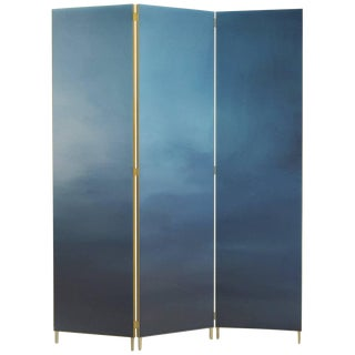 Blue Hand-Painted Screen - Jan Garncarek For Sale