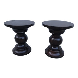 Solid Wood Pedestal Side Tables - A Pair For Sale