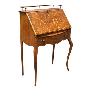 Antique Victorian Quartersawn Oak Marquetry Drop Front Secretary Desk For Sale