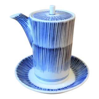 Japanese Blue and White Soy Sauce Pot With Saucer