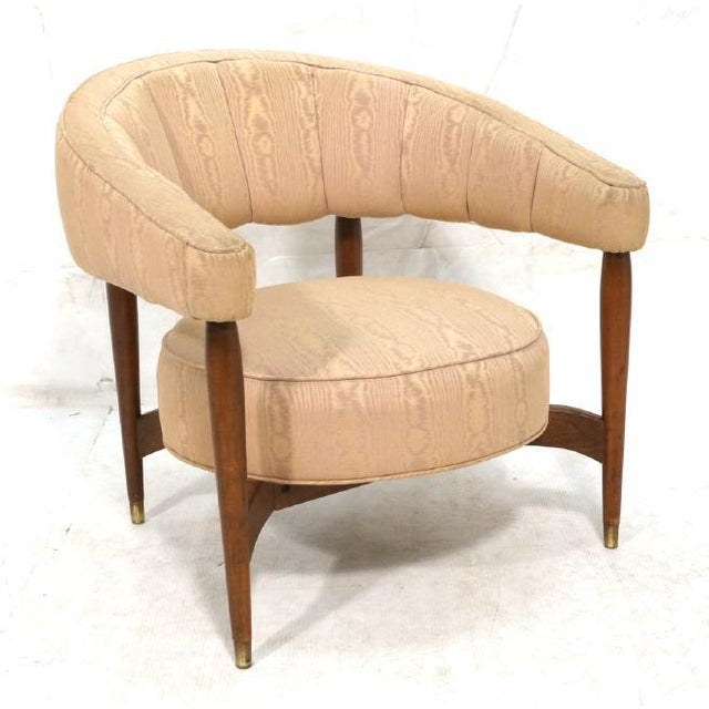 Floating Back Sculptural Modernist Barrel Back Lounge Chair in Tan Moire Fabric Upholstery For Sale - Image 11 of 11