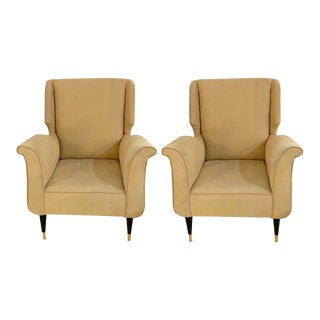 Mid-Century Modern Gio Ponti Style Arm, Bergère or Wingback Chairs, a Pair For Sale