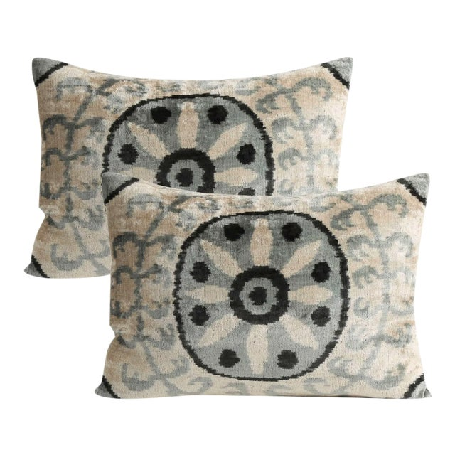 Silk Velvet Down Feather Pillow - a Pair For Sale