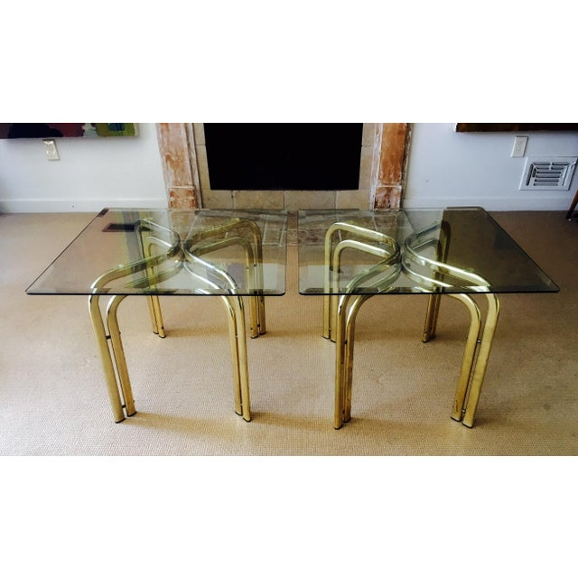 Mid Century Brass & Glass Side Tables - a Pair - Image 4 of 9