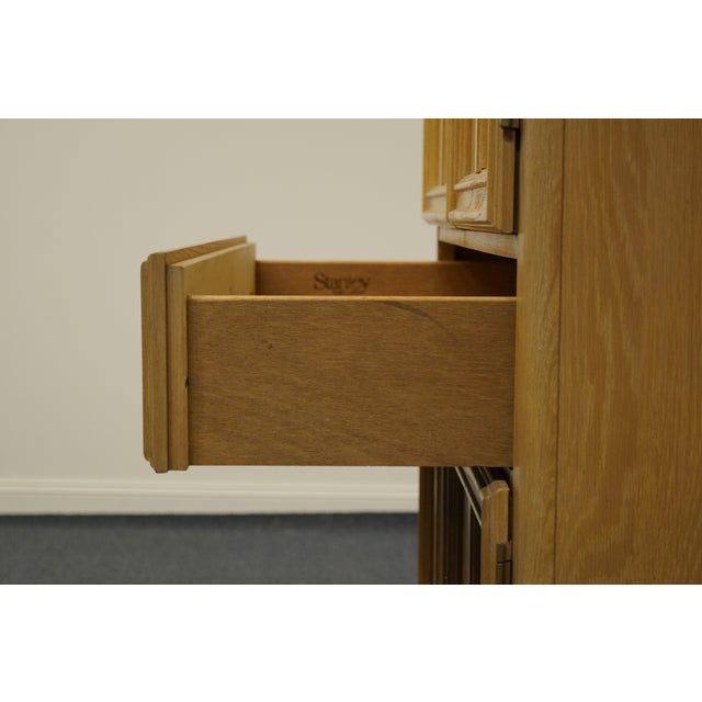 """Tan Stanley Furniture Pickled Oak 42"""" Door Chest/Armoire For Sale - Image 8 of 13"""