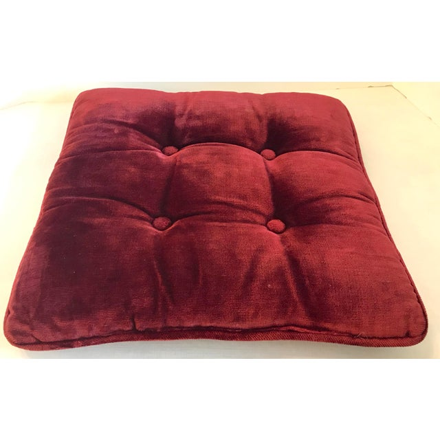 Vintage Mid-Century Red Velvet Square Tufted Pillow For Sale In Dallas - Image 6 of 9