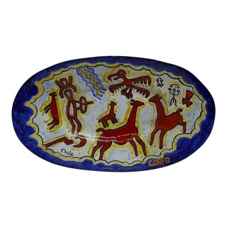 Vintage Chilean & Metal Ceramic Bowl