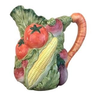 Painted Ceramic Vegetable Pitcher For Sale