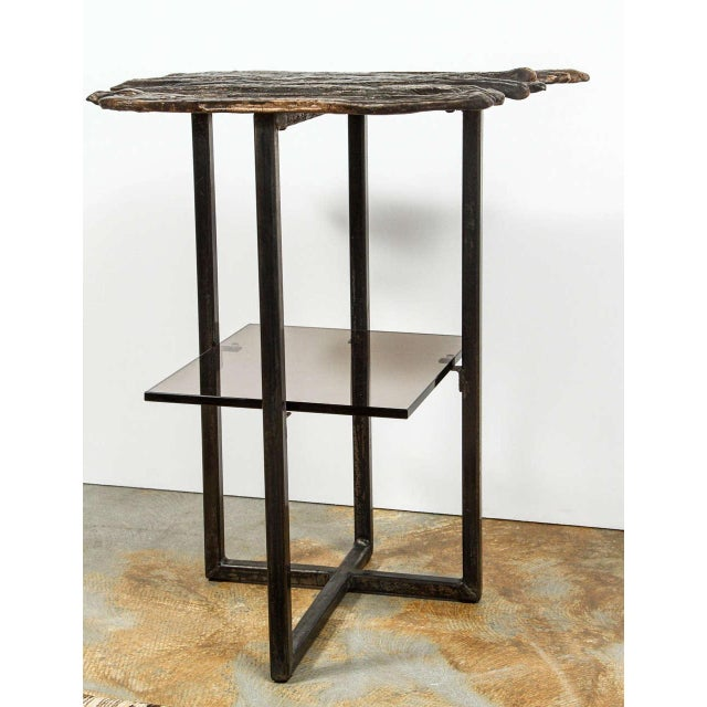 Paul Marra cast bronze Pod Table. Cast bronze and steel with bronze patina and with bronze tinted glass shelf. Two in stock.