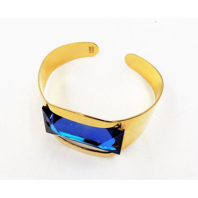 1970s Bijoux Cascio Italy Blue Rhinestone Cuff Bracelet For Sale - Image 4 of 9