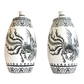 Large Dragon Décor Porcelain Ginger Jars/Pots - a Pair For Sale