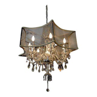 Gray Mesh Shade & Crystal Chandelier For Sale