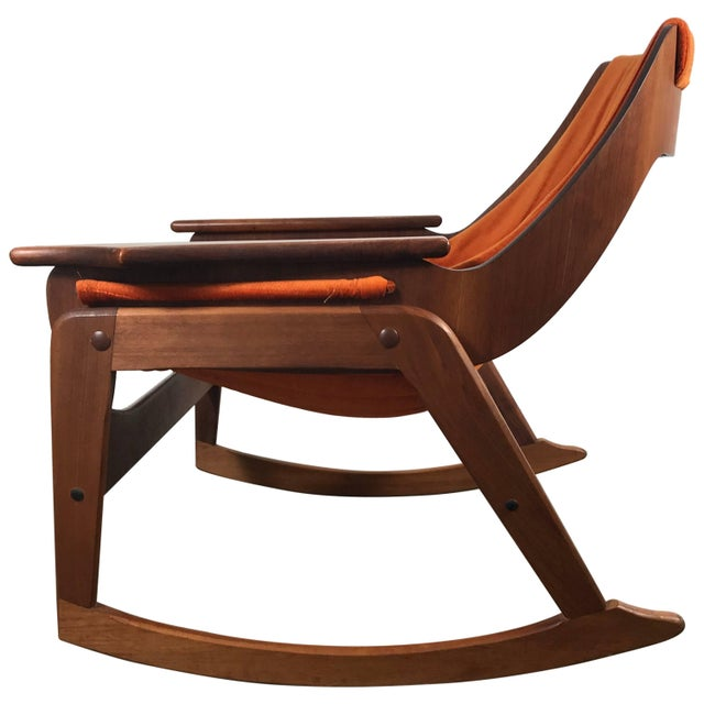 Rare Jerry Johnson Midcentury Walnut Sling Rocking Chair 1960s For Sale - Image 9 of 9