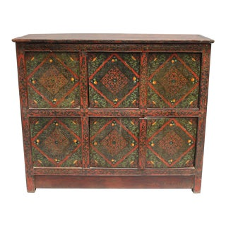 1920s Tibetan Wooden Chest For Sale