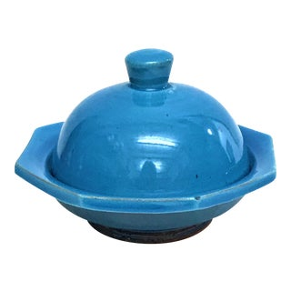 Hand Painted Blue Small Ceramic Serving Dish & Lid For Sale