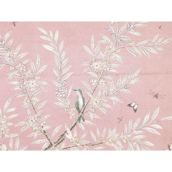 This Chinoiserie panel will add elegance to any room with its delicate butterfly, bird, and floral details. Highlighted...