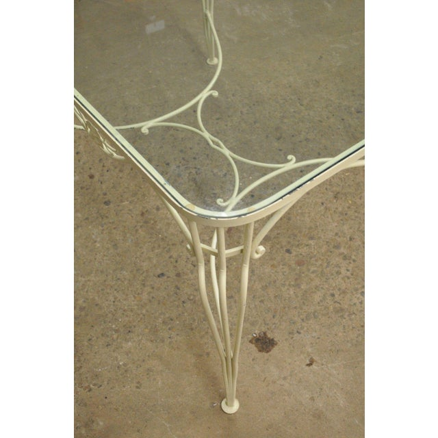 Metal Vintage 5 Piece Blue Wrought Iron Patio Dining Set Table 4 Chairs Mid Century Woodard For Sale - Image 7 of 11