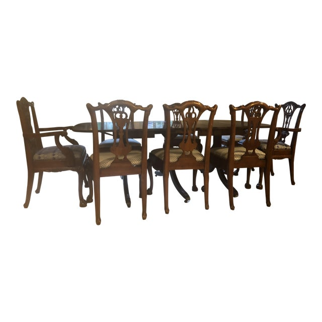 Mahoghany Rectangular Dining Room Table and 8 Carved Chairs Set For Sale