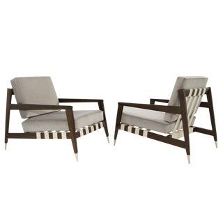 Edmond Spence Strapped Lounge Chairs, 1950s - a Pair For Sale