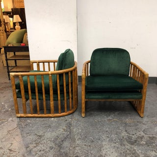 McGuire Bamboo & Leather Wrap Barrel Chairs - a Pair Preview