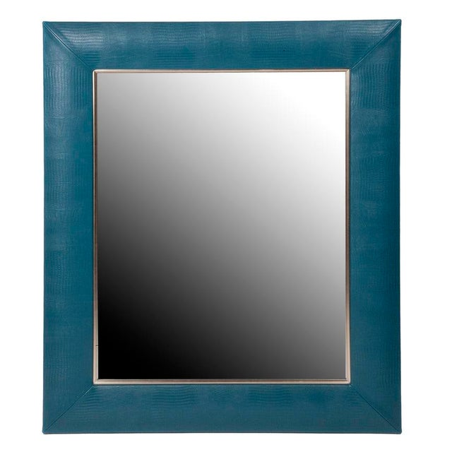 Contemporary Teal Blue Lizard Leather Framed Mirror For Sale - Image 3 of 3