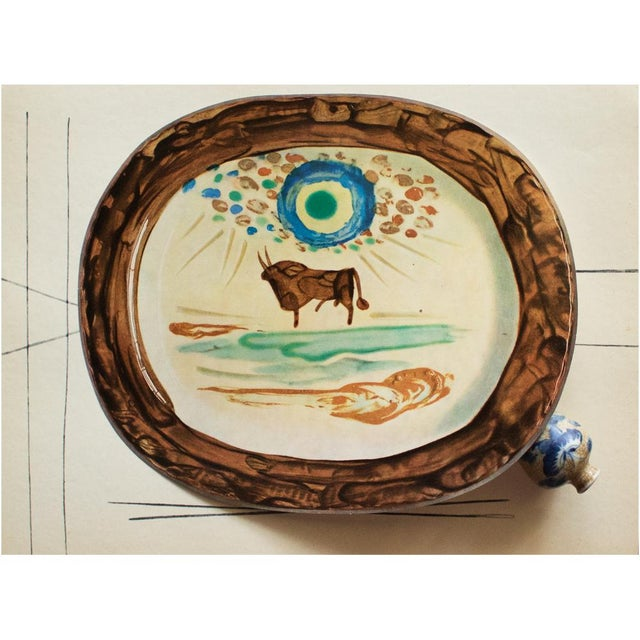 Cubism 1955 Pablo Picasso a Young Bull Ceramic Plate, Original Period Swiss Lithograph For Sale - Image 3 of 6