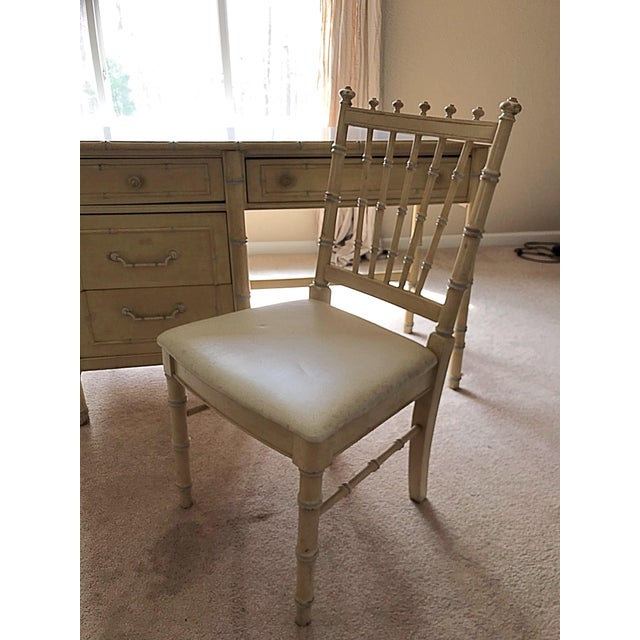 Thomasville desk with matching chair, in original yellow paint with white top.