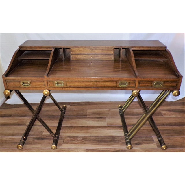 Oxford Square by Drexel Faux Brass Leg Campaign Style Tambour Roll Top Desk For Sale - Image 9 of 13