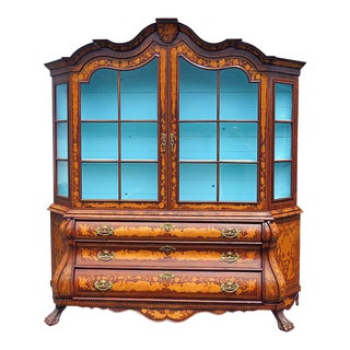 Dutch Marquetry Inlaid Breakfront China Cabinet For Sale