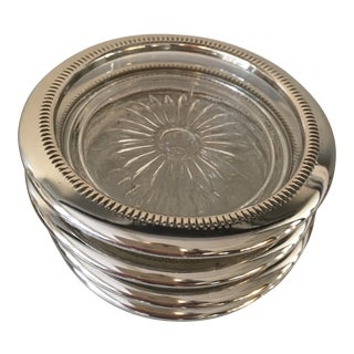 Silverplate & Glass Coasters - Set of 4