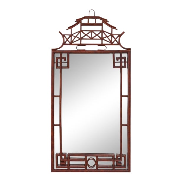 Pagoda Mirror Large, Brown, Rattan For Sale