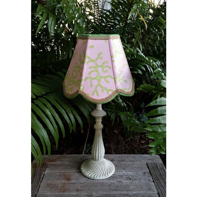 Not Yet Made - Made To Order Lampshade Pink Green Tropical Lilly Pulitzer Fabric For Sale - Image 5 of 11