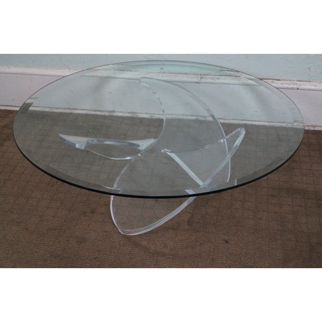 Knut Hesterberg Glass Top Lucite Base Coffee Table - Image 2 of 10