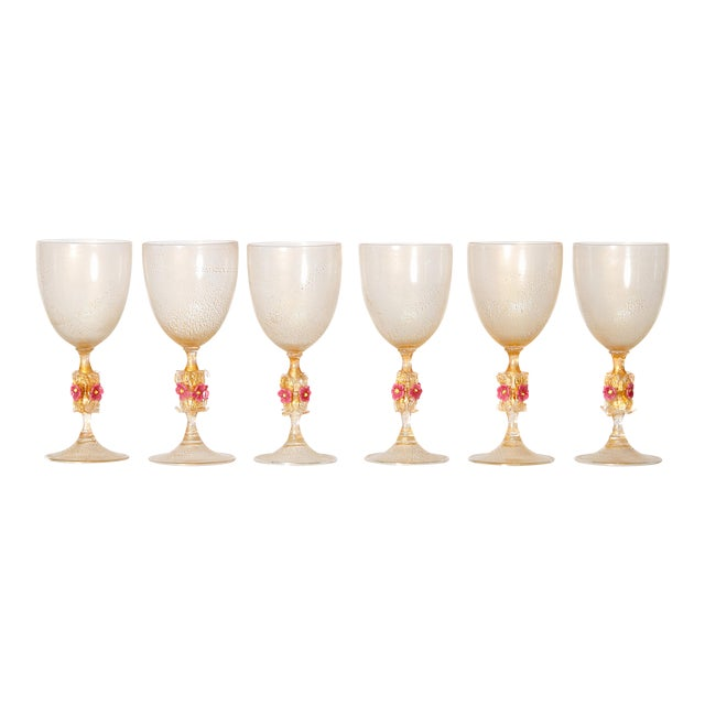 Murano Amber Glass Wine Goblets From Italy For Sale