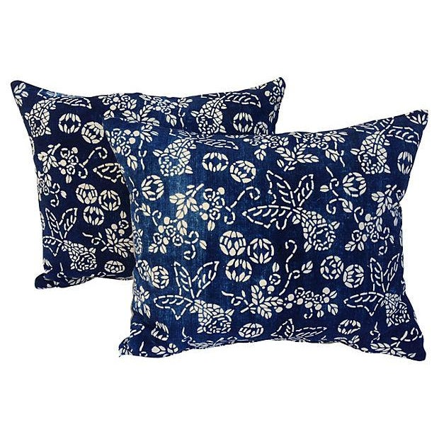 Shanghai Indigo Chinoiserie Batik Koi Fish Pillows - a Pair - Image 1 of 6