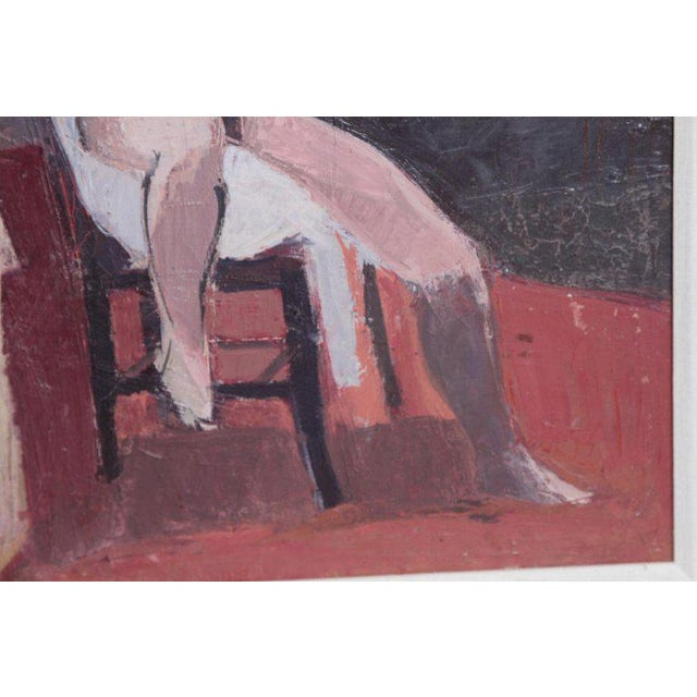 Mid 20th Century A Contemporary Oil on Canvas of a Nude in an Interior Seated on a Chair For Sale - Image 5 of 13
