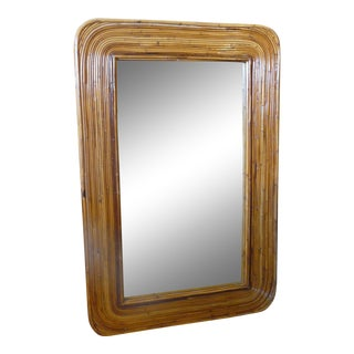 Rattan Pencil Reed Framed Wall Mirror For Sale
