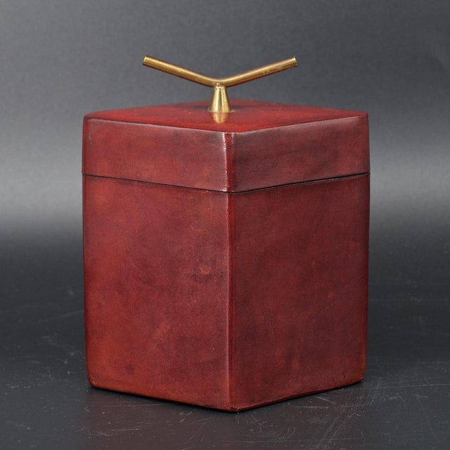 Brass Handled Red Leather Trinket Box Lid ScaccoMatto Italy Midcentury Regency For Sale - Image 4 of 10