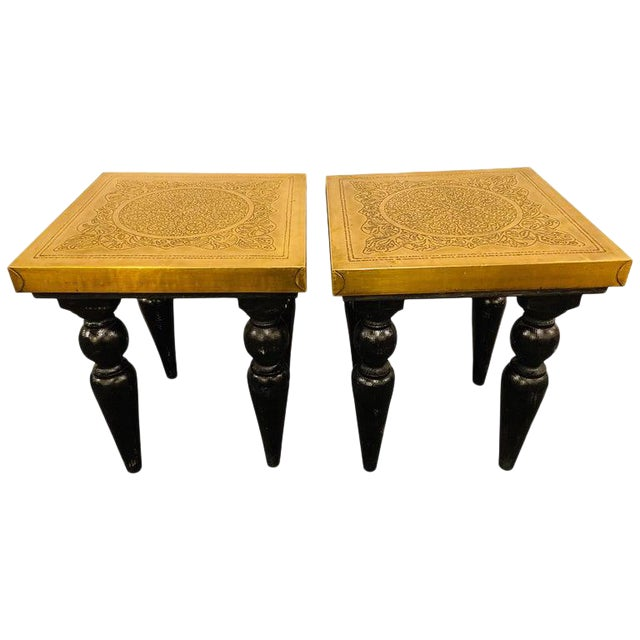 Moroccan End Tables in Fine Gold Brass & Carved Legs - a Pair For Sale